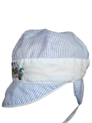 Кепка бело-голубая в полоску с вышивкой | 3105591