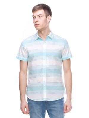 Рубашка мятного цвета в полоску | 3084274
