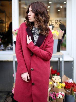 Пальто бордовое | 2875531