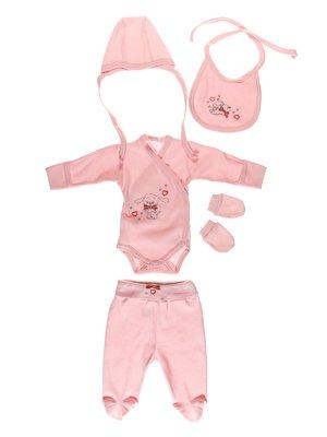 Комплект: боді, повзунки, шапка, слинявчик і царапки | 3083868