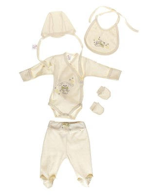 Комплект: боді, повзунки, шапка, слинявчик і царапки | 3083871