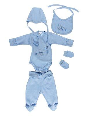 Комплект: боді, повзунки, шапка, слинявчик і царапки | 3083870