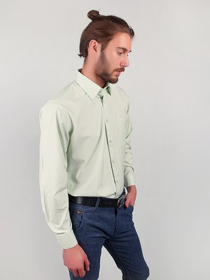 Рубашка светло-оливкового цвета в полоску | 3108406