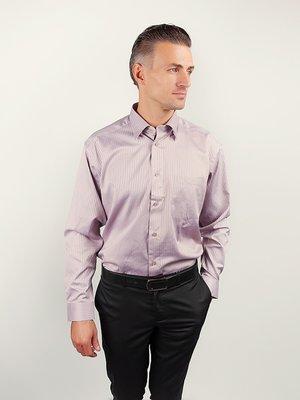 Рубашка светло-сиреневая в полоску | 3108429