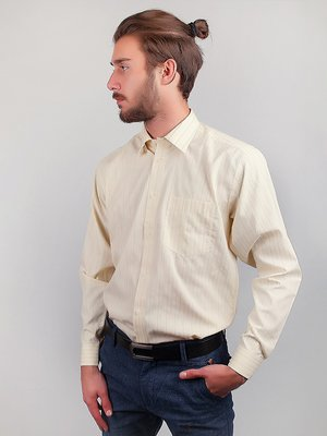 Рубашка молочного цвета в полоску | 3108475