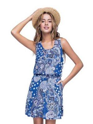Сукня синя у принт | 3109233