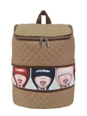 Рюкзак бежевый с принтом | 3110488