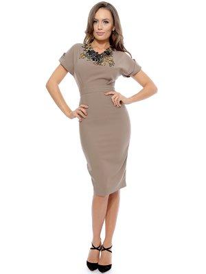 Платье цвета капучино с вышивкой   3111244