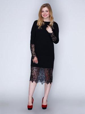 Платье черное с нежным кружевом | 2763908