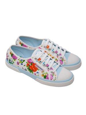 Кеды белые в цветочный принт | 3083825