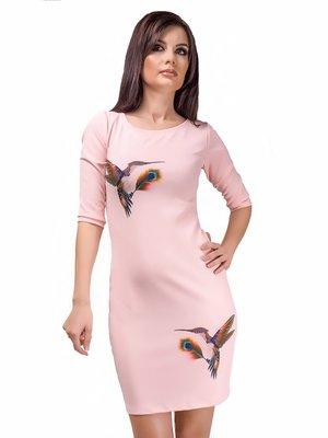 Сукня рожева з принтом | 3123404