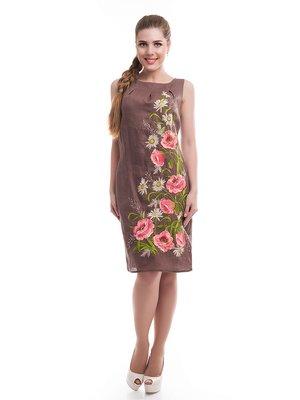 Платье коричневое с вышивкой | 3130443