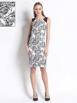 Сукня чорно-біла з квітковим принтом   3138469