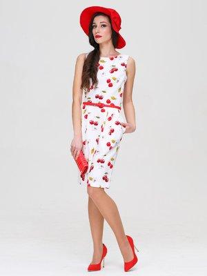 Сукня молочного кольору в принт | 3143608