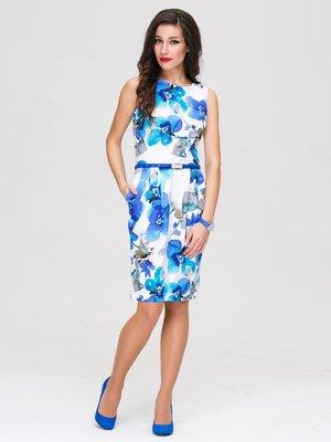 Сукня блакитна в принт | 3143610