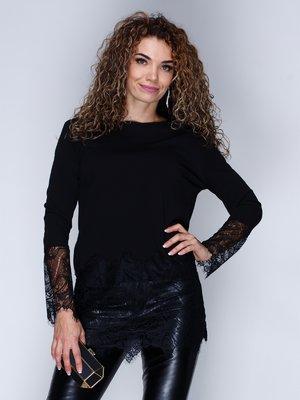Блуза чорна з мереживом | 3086312
