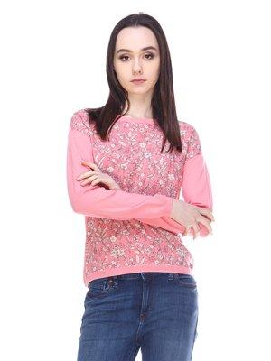 Джемпер розовый с цветочным принтом | 3009455