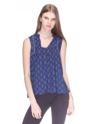 Блуза синяя с принтом | 3010041