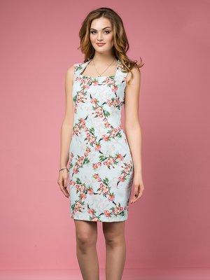 Сукня блакитна у квітковий принт | 3165729