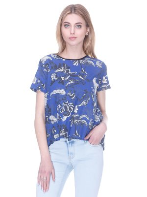 Блуза синяя с принтом | 3077841