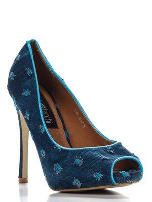 Туфли синие в принт | 3138301