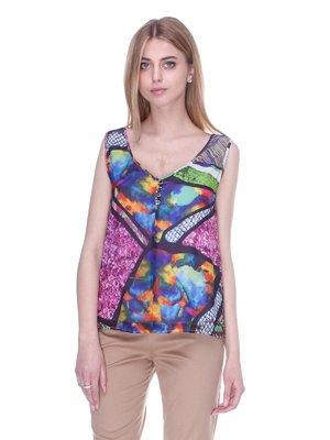 Блуза різнобарвна в принт | 3005351