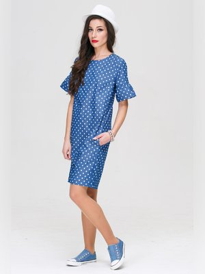 Платье синее в принт | 3178646