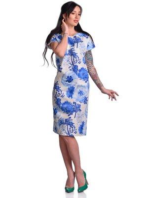 Сукня синьо-біла з квітковим принтом | 3178239