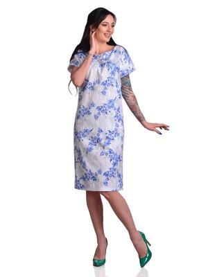 Сукня синьо-біла з квітковим принтом | 3178240