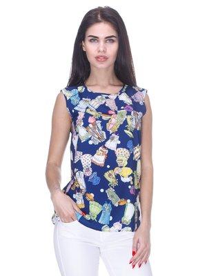 Блуза синяя в принт   3180960