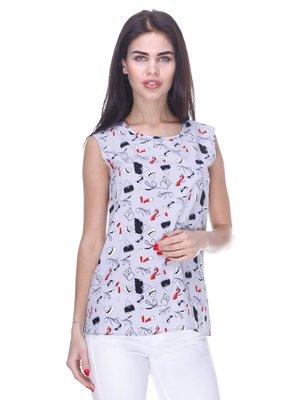 Блуза серая в принт | 3180955