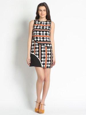 Платье коричневое в принт | 3186058