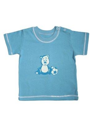 Футболка голубая с принтом | 3187216