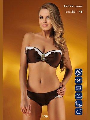 Купальник коричнево-белый | 3187360