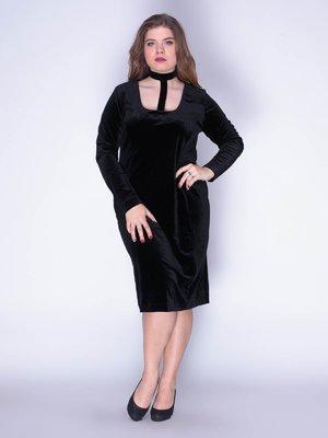 Платье бархатное черное | 3130146