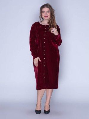 Платье бархатное красное | 3158691