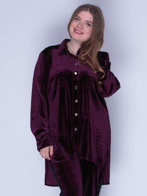 Сорочка з оксамиту фіолетова | 3207623