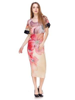 Сукня бежева з квітковим принтом | 3146074