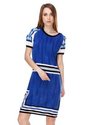 Платье синее с полосками | 2434138