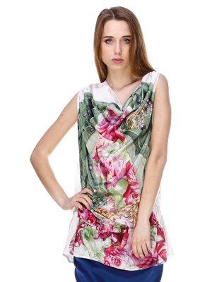 Блуза белая с принтом | 3146082