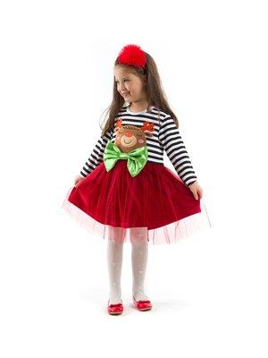 Сукня біло-бордова в смужку з аплікацією | 3220416