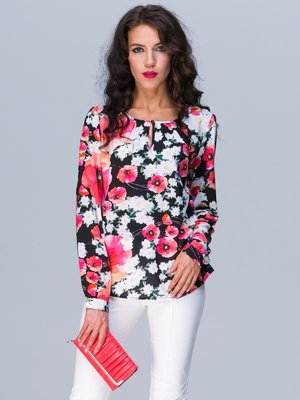Блуза чорна в квітковий принт | 3227694