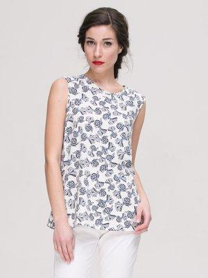 Блуза молочного кольору з принтом   3238905