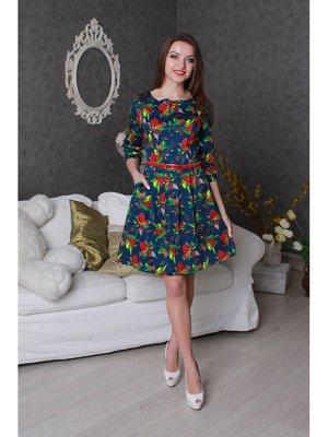 Сукня синя з квітковим принтом   3239239