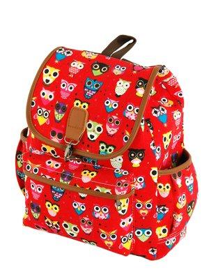 Рюкзак красный в принт «Совы» | 3246163