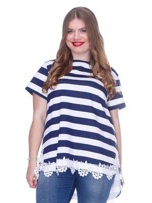 Блуза в полоску с кружевом и асимметричным низом | 3246640
