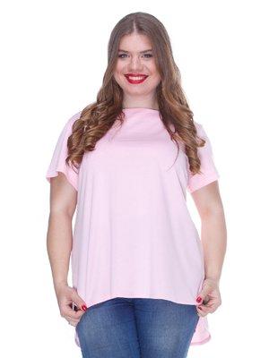 Блуза нежно-розовая с асимметричным низом | 3246638