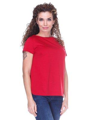 Блуза красная с асимметричным низом | 3234366