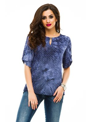 Блуза темно-синяя в горошек | 3274427