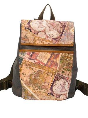 Рюкзак цвета хаки с принтом | 3216608